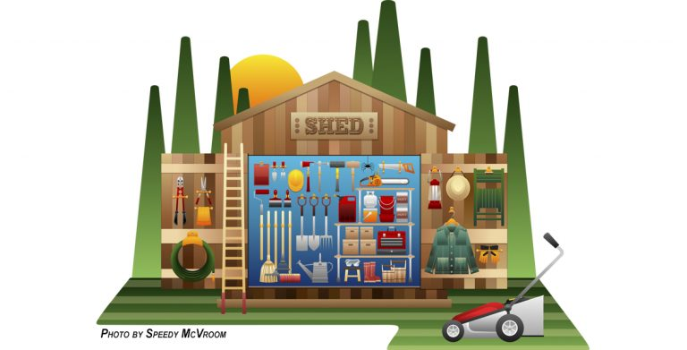 Image of Tools Organized in a Garden Shed or Garage