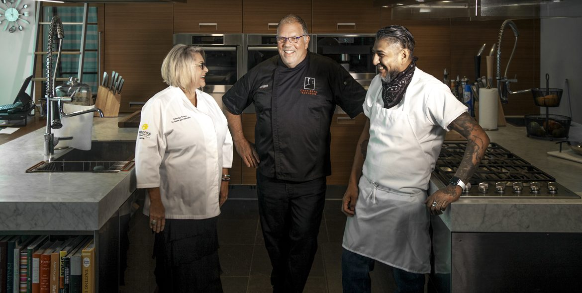 Chefs Rebecka Evans, Kent Rathbun, and Adrian Cruz