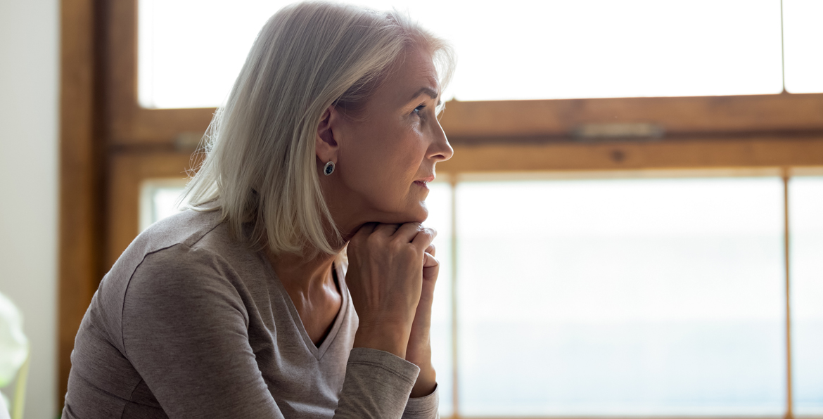 A woman contemplating her retirement